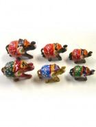 LOT DE 3 ELEPHANTS LAQUES PEINTS (6 couleurs)