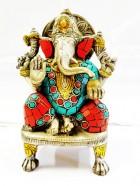 REF51D – GANESH Argente assis dans autel incruste H 16cm