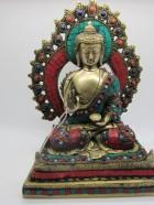 REF64 – BOUDDHA dans autel, incrusté H.32cm