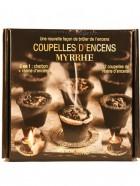 Aromatika Coupelles Encens MYRRHE, 2 en 1  :  charbon + résine encens (prêt à brûler)
