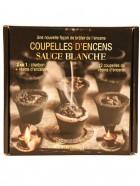 Aromatika Coupelles Encens SAUGE BLANCHE, 2 en 1  :  charbon + résine encens (prêt à brûler)