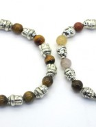 REF208D – BRACELET MALAS PIERRES avec Tête de Bouddha métal argenté