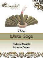 CONES AROMATIKA VEDIC MASALA WHITE SAGE  (Sauge blanche) (couleurs végétales)