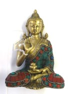 REF49B – BOUDDHA doré incrusté H. 17cm  –  (Reste : 3 pièces)